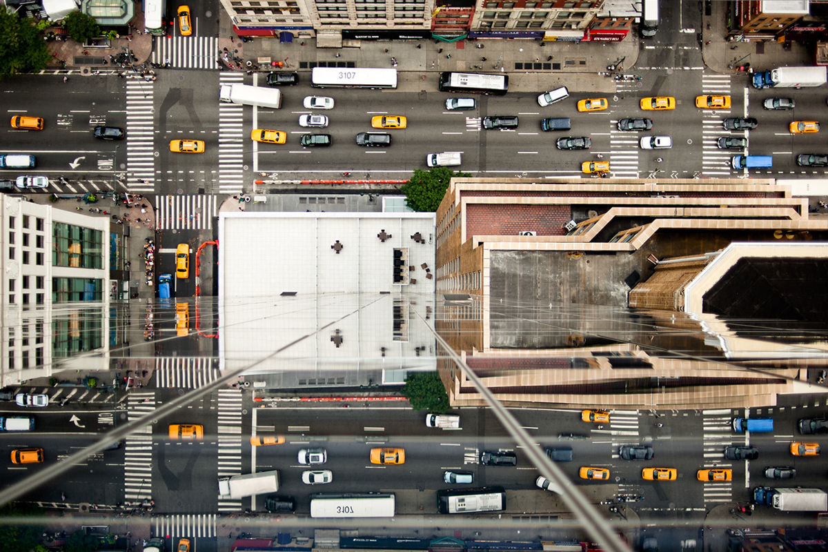 Aerial view of a Manhattan street with cars