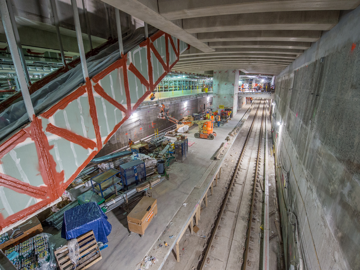 Raw and unfinished underground train tunnel under construction