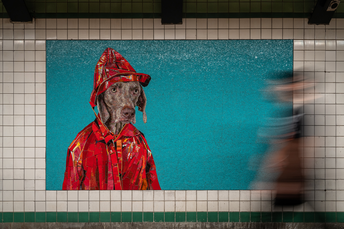 Mosaic mural featuring a Weimaraner dog wearing a red fireman's coat and hat against and blue back drop