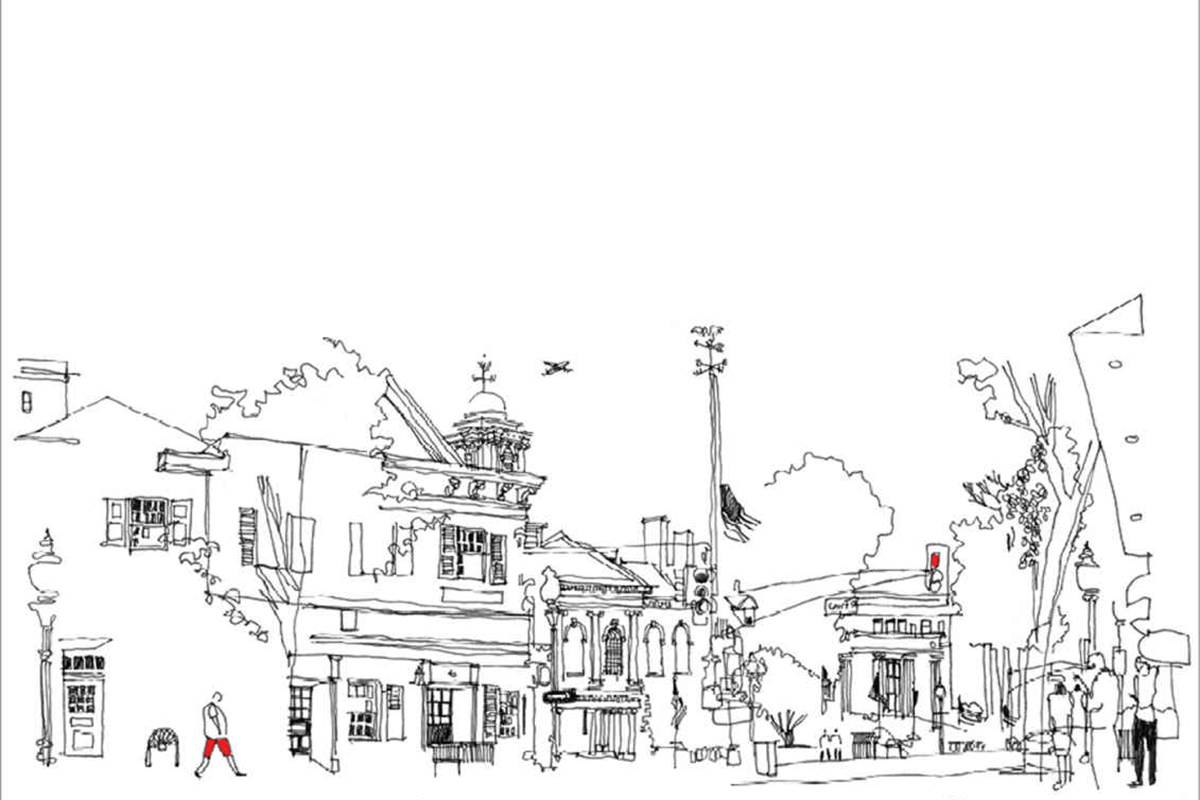 sketch of a street and some buildings