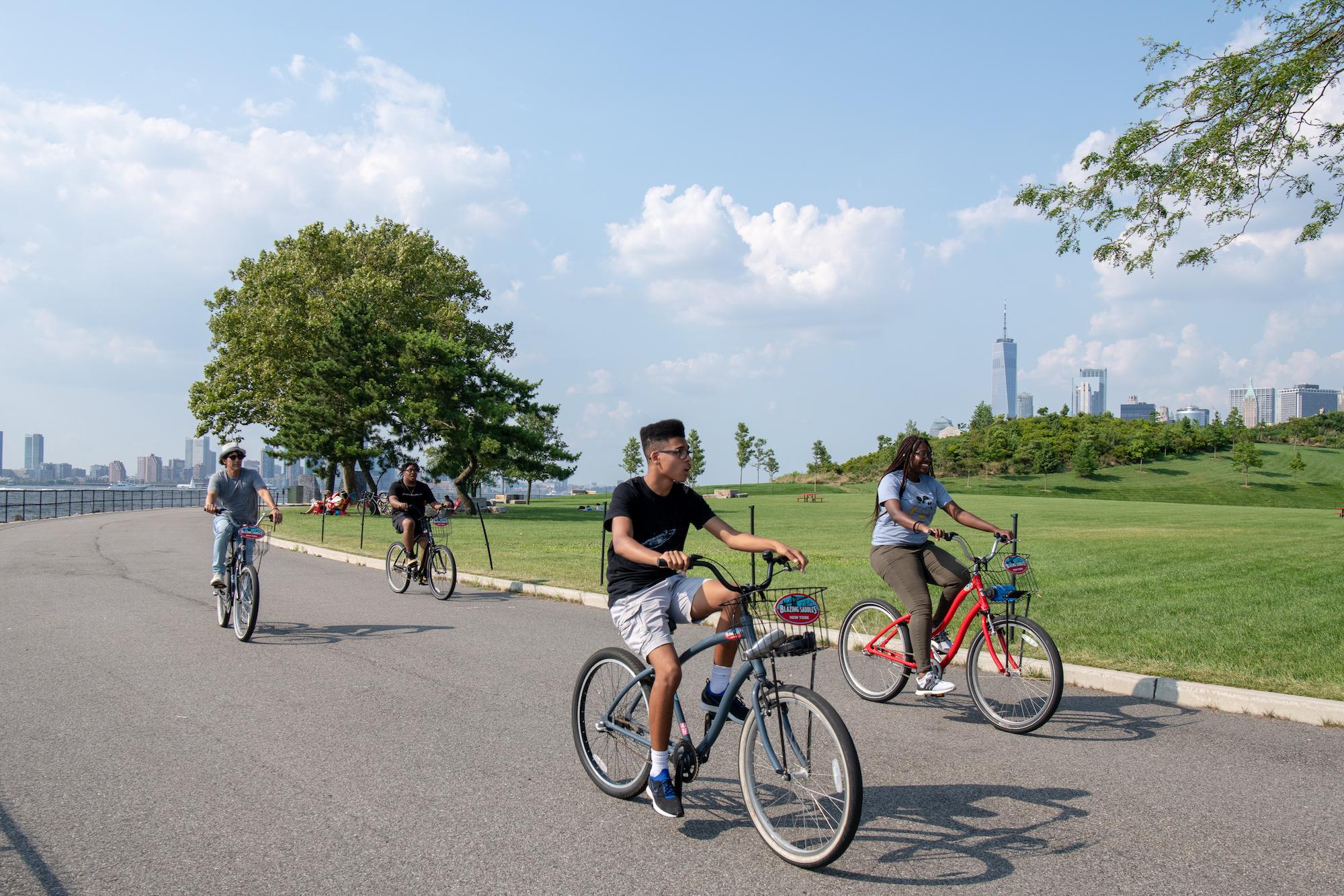 people biking in park