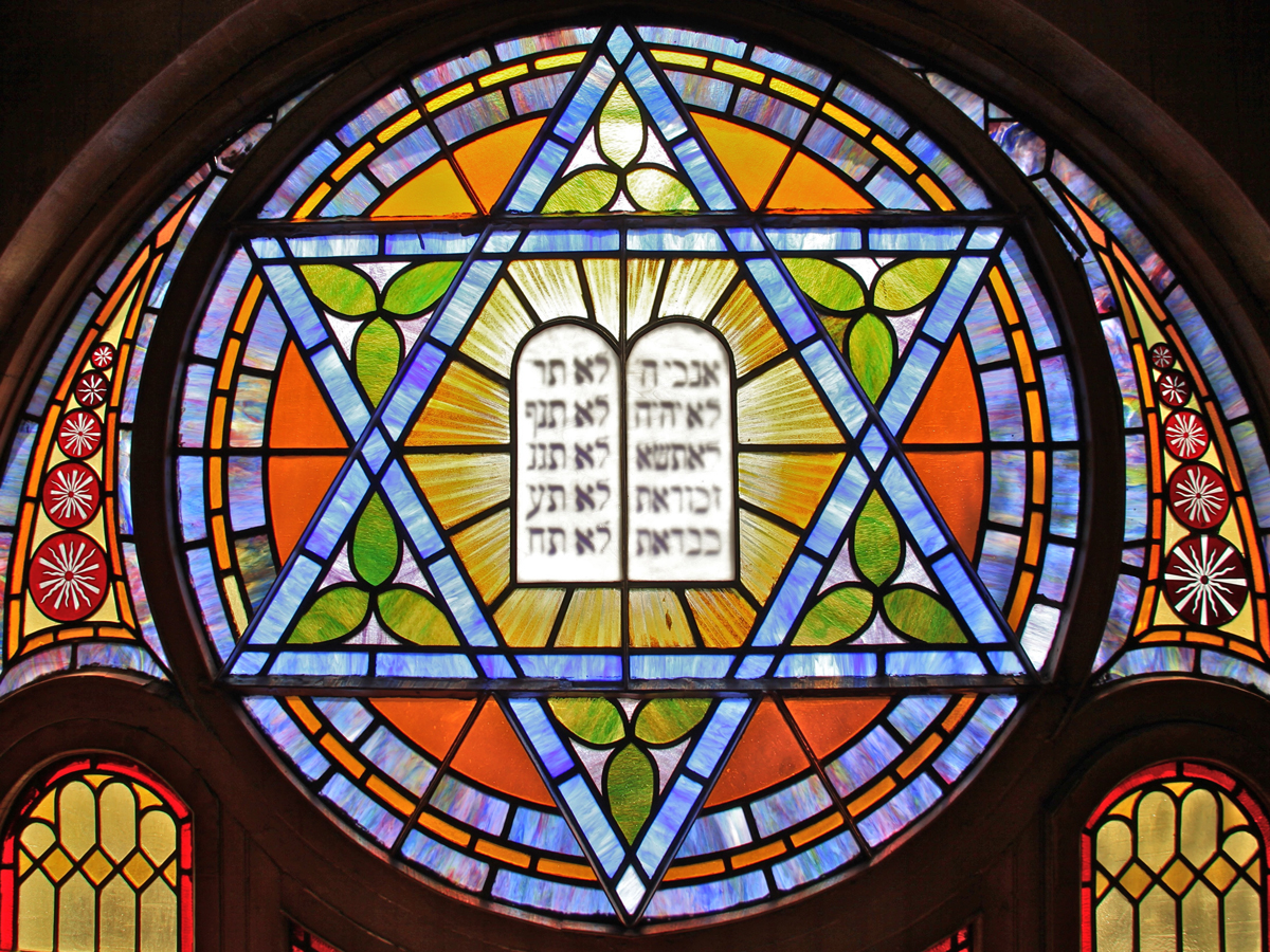 A star of David made of stained glass