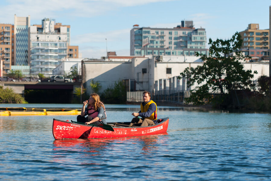 Kayakers on a canal