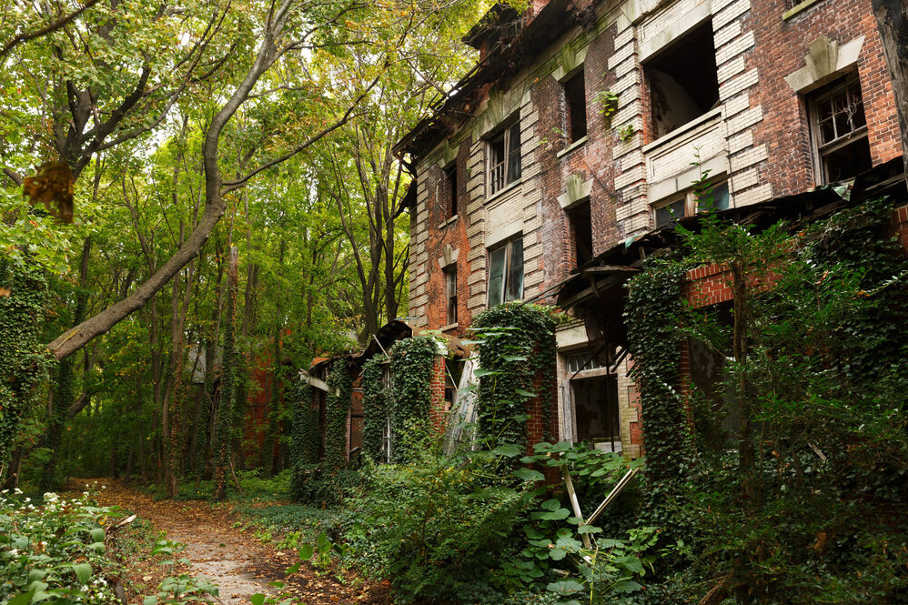 Dilapidated red brick building covered in ivy