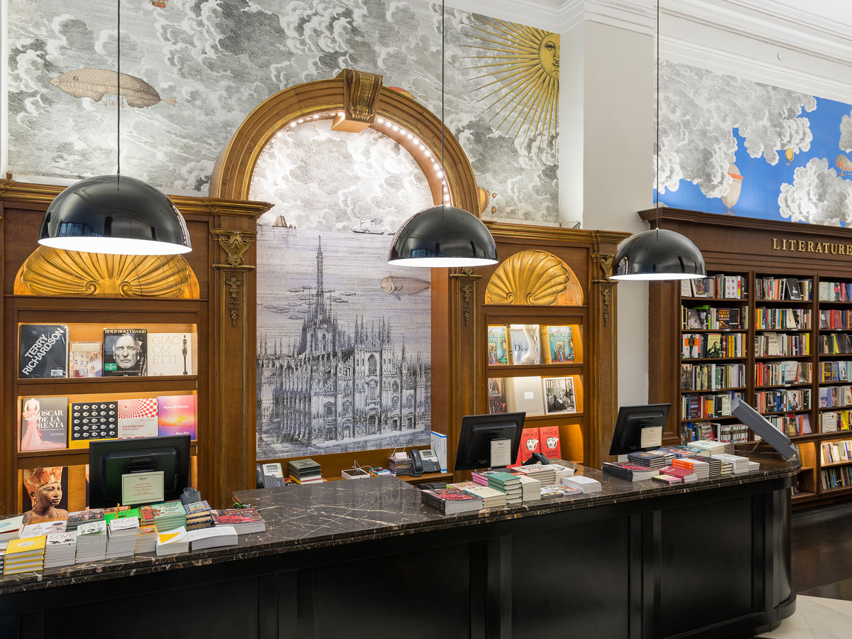 a checkout station in a bookstore