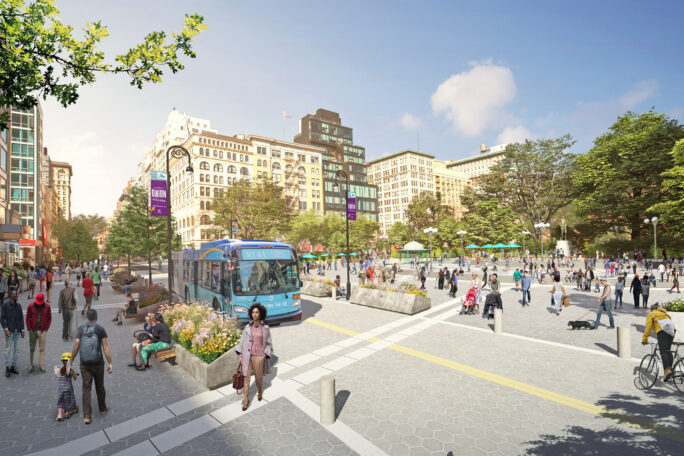 Rendering of Union Square showing a wide-open plaza with pedestrians and a busway