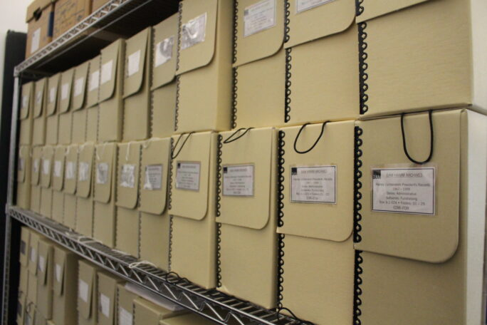 Image of labelled storage containers within the archive