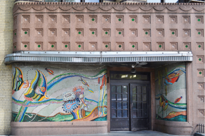 Images of art deco style buildings on the Grand Concourse