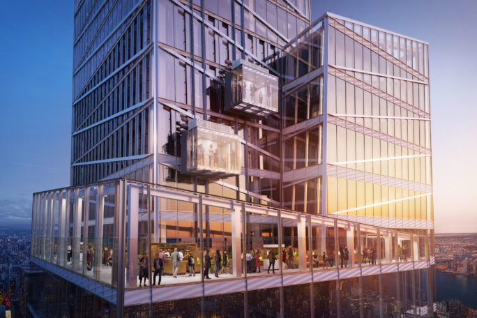 Architectural rendering of the glass ground-level exterior of One Vanderbilt