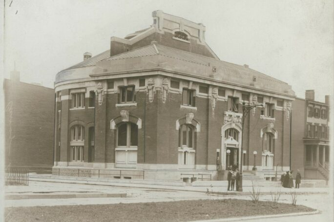 Historical black and white photo of the Pacific Library