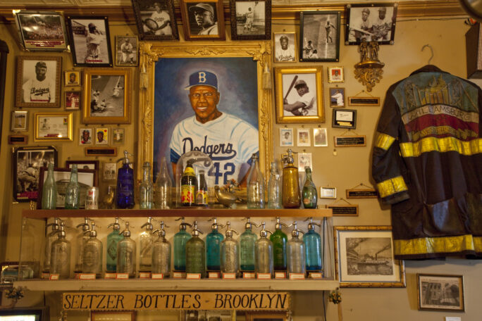 Part of the City Reliquary's Jackie Robinson and seltzer bottle collections