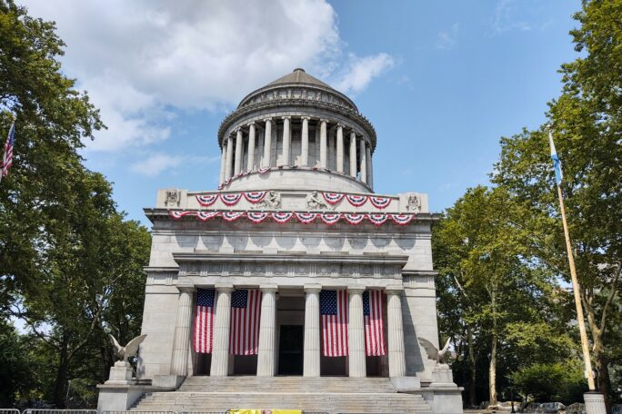 General Grant National Memorial adorned with Americans flags and ceremonial ribbons