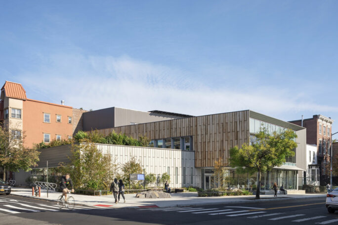 Exterior of Greenpoint Library and Environmental Education Center