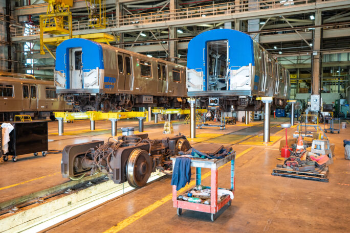 Two train cars are in for maintenance