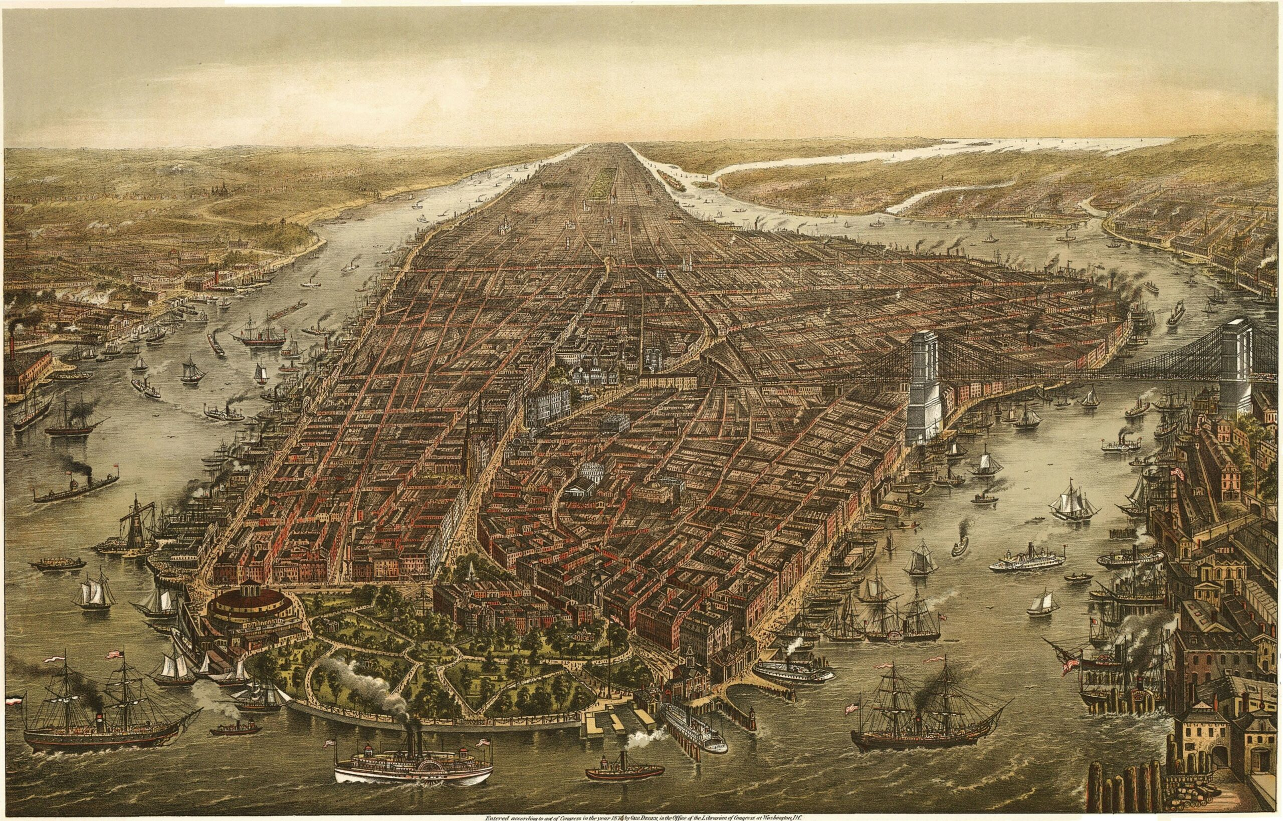 Perspective drawing of lower Manhattan