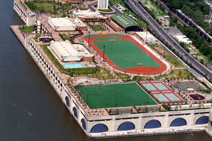 Aerial view of the park and river