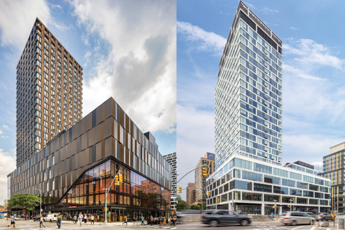 View of The Essex from Broome Street and Essex Street / View of The Artisan from Delancey Street and Clinton Street
