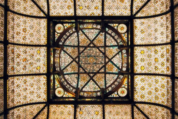 Stained glass square dome ceiling