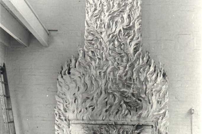 Historic image of the Robert Winthrop Chanler Fireplace. Black and white photo of a large fireplace
