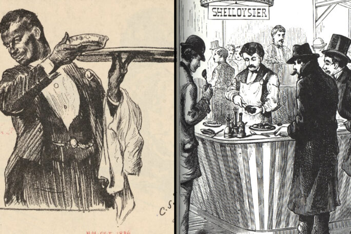 Drawing of a black man in waiter's garb and a drawing of an oyster restaurant and patrons