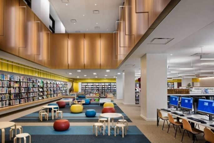 Library interior with shelves