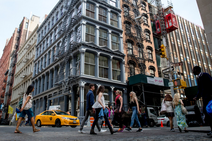 Street view of SoHo with buildings