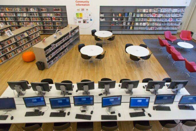 View from above of a library floor with shelves